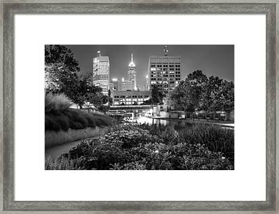 Downtown Indianapolis Skyline At Night - Black And White Framed Print by Gregory Ballos