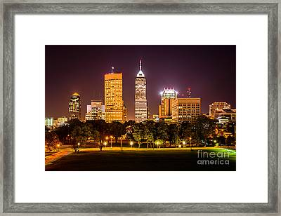 Downtown Indianapolis Skyline At Night Picture Framed Print by Paul Velgos