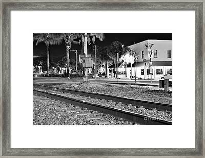 Downtown Jensen R R Tracks B W Framed Print