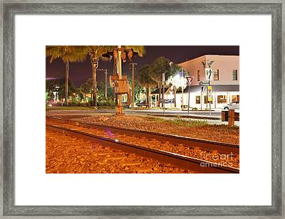 Downtown Jensen R R Tracks Framed Print