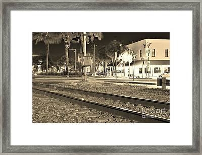 Downtown Jensen R R Tracks Sepia Framed Print
