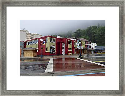 Framed Print featuring the photograph Downtown Juneau On A Rainy Day by Cathy Mahnke