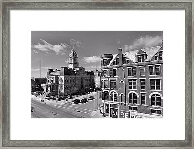 Downtown Lima Ohio Aerial Framed Print by Dan Sproul