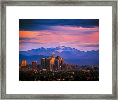 Downtown Los Angeles After Sunset Framed Print