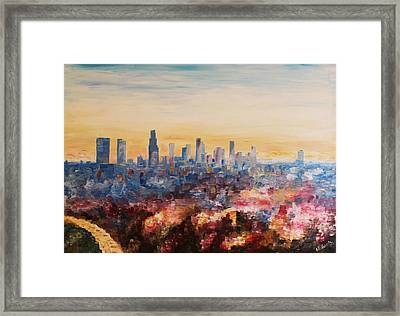 Downtown Los Angeles At Dusk Framed Print by M Bleichner