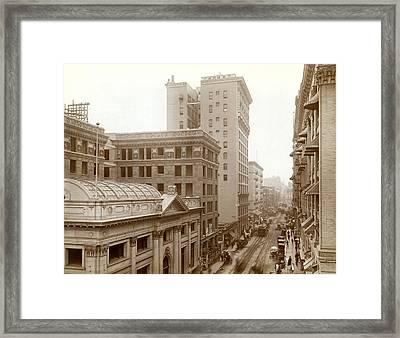 Downtown Los Angeles In 1900 Framed Print by Underwood Archives