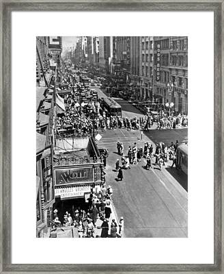 Downtown Los Angeles Framed Print by Underwood Archives
