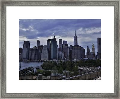 Downtown Manhattan From Brooklyn Bridge Park Framed Print by E Osmanoglu