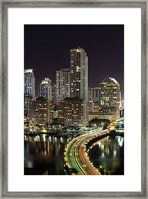 Downtown Miami From Brickell Key Framed Print