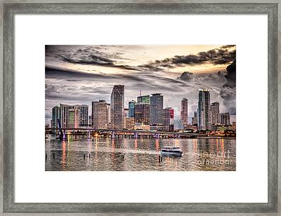 Downtown Miami Skyline In Hdr Framed Print