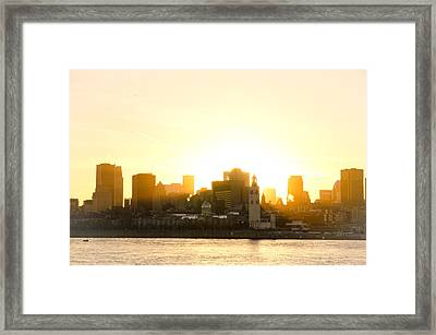 Downtown Montreal In Fall Season Dusk Framed Print by Eric Soucy