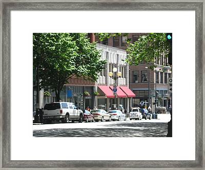 Downtown Neighborhood Framed Print by David Trotter