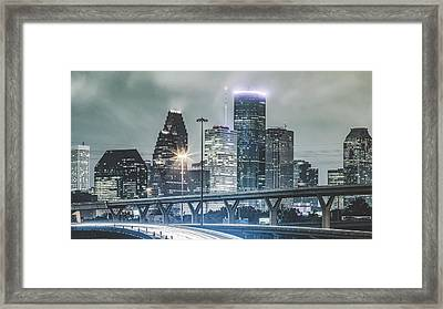 Downtown Of Houston In The Rain At Night Framed Print by Onest Mistic