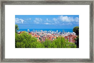Downtown Panorama Of Barcelona Framed Print by Michal Bednarek