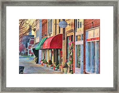 Downtown Perrysburg In December Framed Print