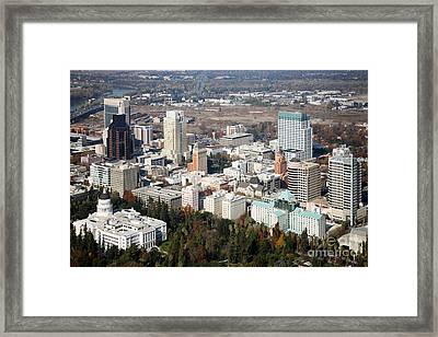Downtown Sacramento And Capitol Park Framed Print by Bill Cobb