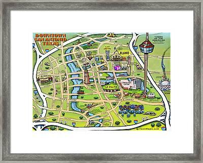 Downtown San Antonio Texas Cartoon Map Framed Print