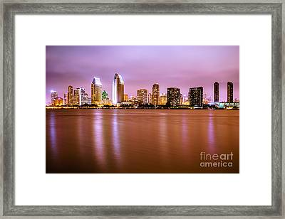Downtown San Diego Skyline At Night Framed Print by Paul Velgos