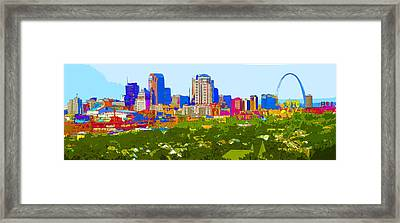 Downtown St. Louis From The Southwest Abstract Framed Print