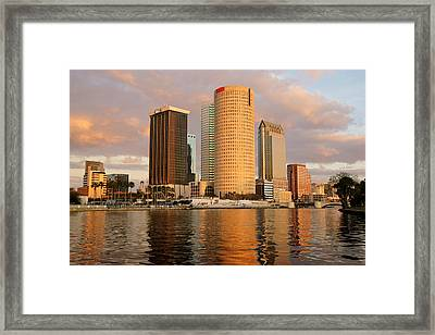 Downtown Tampa At Dusk On Hillsborough River Framed Print by Daniel Woodrum