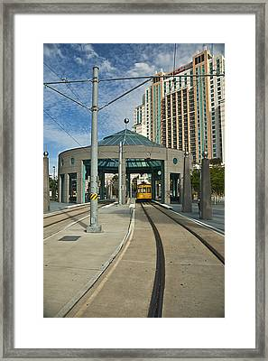 Downtown Tampa Streetcar Framed Print by Carolyn Marshall