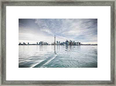 Framed Print featuring the photograph Downtown Toronto Skyline From The Ferry by Anthony Rego