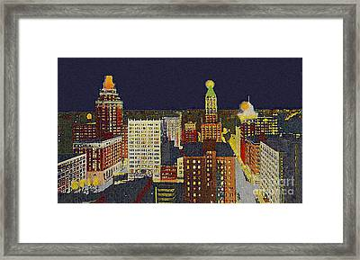 Downtown Tulsa At Night Around 1940 Framed Print