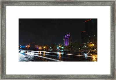 Downtown Tyler Texas At Night Framed Print