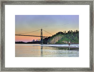 Downtown Vancouver And Lions Gate Bridge At Twilight Framed Print by Eti Reid