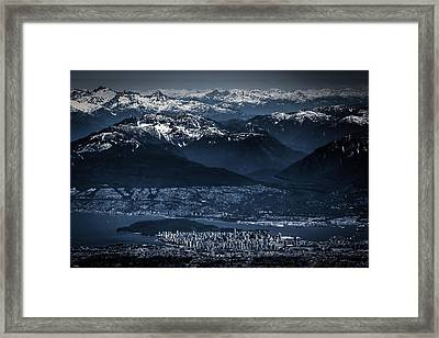 Downtown Vancouver And The Mountains Aerial View Low Key Framed Print by Eti Reid