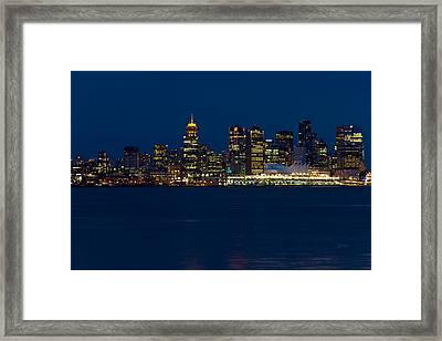 Downtown Vancouver At Night  Framed Print by Eti Reid