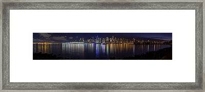 Downtown Vancouver Skyline By Night Framed Print