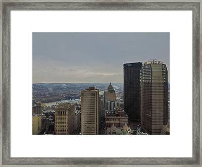 Dowtown Pittsburgh At Roof Level Framed Print