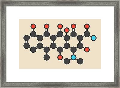Doxycycline Antibiotic Drug Molecule Framed Print by Molekuul
