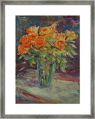 Dozen Orange Roses Framed Print