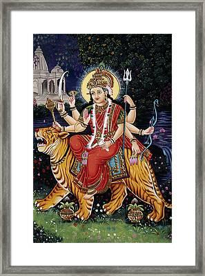 Goddess Durga Riding Tiger Framed Print