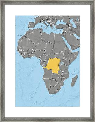 Dr Congo, Relief Map Framed Print