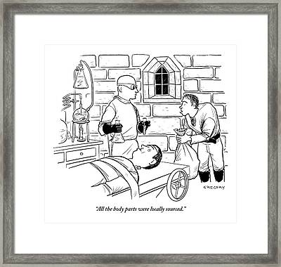 Dr. Frankenstein Is Creating His Monster Framed Print
