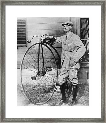Dr. Kendall With His Bicycle Framed Print by Underwood Archives