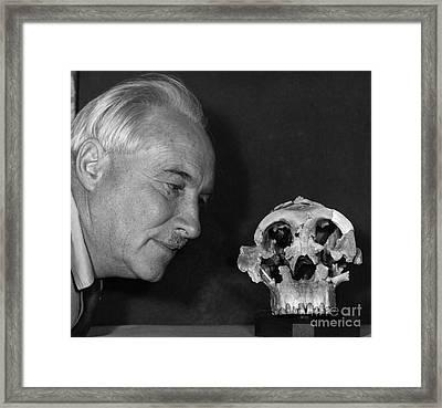 Dr. Louis Leaky With Zinjanthropus Skull Framed Print by Jen & Des Bartlett