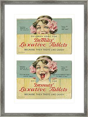 Dr Miles Laxative Tablets Framed Print