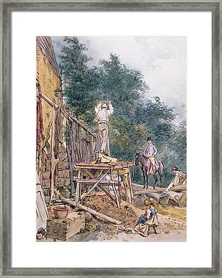 Dr. Monro Inspecting His Stables Pen And Ink & Wc On Paper Framed Print