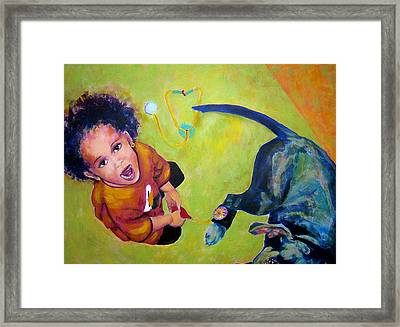 Framed Print featuring the painting Dr. Nana And The Blue Dog by Jodie Marie Anne Richardson Traugott          aka jm-ART