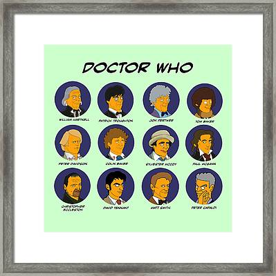 Framed Print featuring the digital art Dr Who Tardis Green Collection by Donna Huntriss