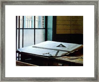 Drafting - Triangle Ruler And Compass Framed Print by Susan Savad