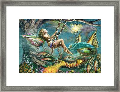 Dragon And Fairy Swing Framed Print by Adrian Chesterman