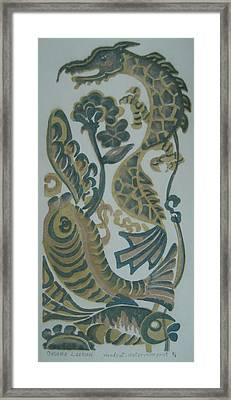 Dragon And Fish Framed Print by Ousama Lazkani