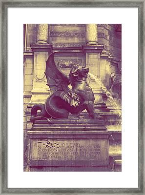Dragon At Fontaine Saint-michel Framed Print