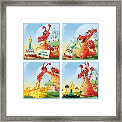 Dragon Blows Out Birthday Cake Framed Print by David Spier