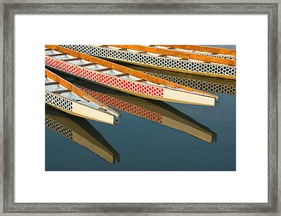 Dragon Boats In Manila Bay, Manila Framed Print by Keren Su